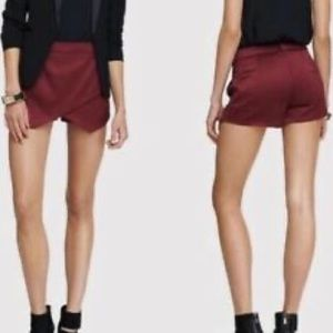 EXPRESS Maroon Satin Skort Shorts with Pockets 8
